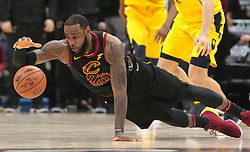 April 29, 2018 - Cleveland, OH, USA - Cleveland Cavaliers forward LeBron James dives for the ball against Indiana Pacers forward Bojan Bogdanovic in the fourth quarter of Game 7 of the Eastern Conference First Round series on Sunday, April 29, 2018 at Quicken Loans Arena in Cleveland, Ohio. The Cavs won the game, 105-101. (Credit Image: © Leah Klafczynski/TNS via ZUMA Wire)