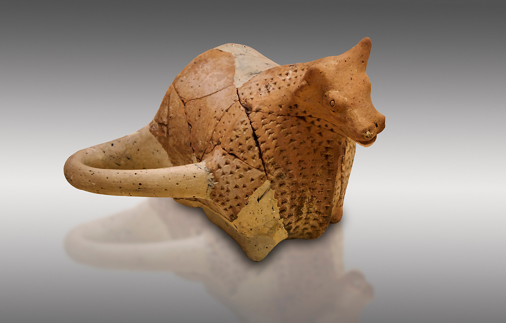 Hittite terra cotta sleremonial libation rhython in the shape of a bull. Hittite Period, 1600 - 1200 BC.  Hattusa Boğazkale. Çorum Archaeological Museum, Corum, Turkey .<br />  <br /> If you prefer to buy from our ALAMY STOCK LIBRARY page at https://www.alamy.com/portfolio/paul-williams-funkystock/hittite-art-antiquities.html  - Type Hattusa into the LOWER SEARCH WITHIN GALLERY box. Refine search by adding background colour, place,etc<br /> <br /> Visit our HITTITE PHOTO COLLECTIONS for more photos to download or buy as wall art prints https://funkystock.photoshelter.com/gallery-collection/The-Hittites-Art-Artefacts-Antiquities-Historic-Sites-Pictures-Images-of/C0000NUBSMhSc3Oo
