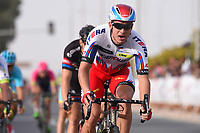 Arrival, KRISTOFF Alexander (NOR) Katusha, winner, during the 14th Tour of Qatar 2015, Stage 4 Al Thakhira - Mesaieed (165,5Km), on February 11, 2015. Photo Tim de Waele / DPPI