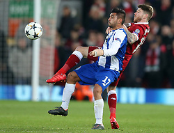 March 6, 2018 - Liverpool, U.S. - 6th March 2018, Anfield, Liverpool, England; UEFA Champions League football, round of 16, 2nd leg, Liverpool versus FC Porto; Alberto Moreno of Liverpool and Jesus Manuel Corona of Porto compete for the ball (Photo by Dave Blunsden/Actionplus/Icon Sportswire) ****NO AGENTS---NORTH AND SOUTH AMERICA SALES ONLY****NO AGENTS---NORTH AND SOUTH AMERICA SALES ONLY* (Credit Image: © Dave Blunsden/Icon SMI via ZUMA Press)