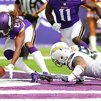 MINNEAPOLIS, MN - AUGUST 28: Cordarrelle Patterson #84 of the Minnesota Vikings picks up a fumble by Tenny Palepoi #95 of the San Diego Chargers in the third quarter at US Bank stadium on August 28, 2016 in Minneapolis, Minnesota. (Photo by Adam Bettcher/Getty Images) *** Local Caption *** Cordarrelle Patterson; Tenny Palepoi