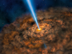 Jun 13, 2017 - San Antonio, Texas, U.S. - Illustration - This artist illustration shows the thick ring of dust that can obscure the energetic processes that occur near the supermassive black hole of an active galactic nuclei. Researchers at the University of Texas San Antonio, using observations from NASA's Stratospheric Observatory for Infrared Astronomy (SOFIA), found that the dust surrounding active, ravenous black holes is much more compact than previously thought. (Credit Image: ? Lynette Cook/SOFIA/NASA via ZUMA Wire/ZUMAPRESS.com)