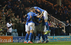 Joe Ward of Peterborough United is mobbed by team-mates after scoring the winning goal - Mandatory by-line: Joe Dent/JMP - 23/11/2019 - FOOTBALL - Weston Homes Stadium - Peterborough, England - Peterborough United v Burton Albion - Sky Bet League One