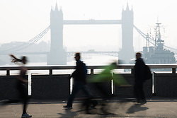 Smog in London. Fog appear this morning in the city of London. Central London, United Kingdom. Wednesday, 2nd April 2014. Picture by Daniel Leal-Olivas / i-Images