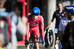 September 18, 2017 - Bergen, NORWAY - 170918  Tobias S. Foss of Norway arrives at the warm up zone ahead of the Men Under 23 Individual Time Trial on September 18, 2017 in Bergen..Photo: Jon Olav Nesvold / BILDBYRN / kod JE / 160020 (Credit Image: © Jon Olav Nesvold/Bildbyran via ZUMA Wire)