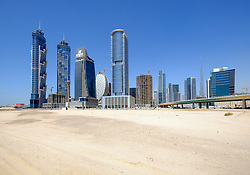 Skyline of new skyscrapers at Business Bay in Dubai United Arab Emirates