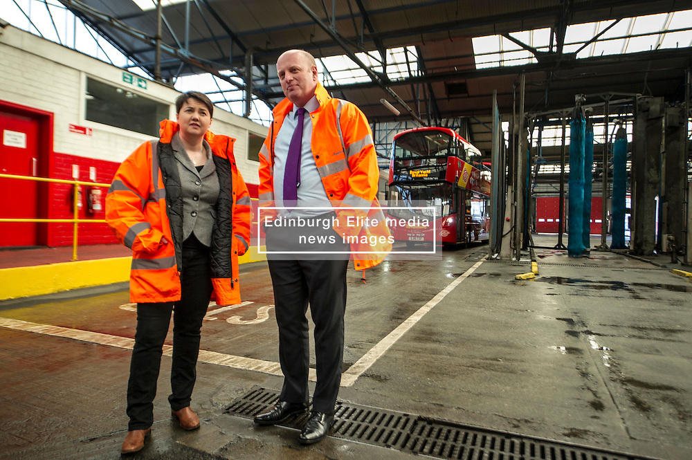 Pictured: Ruth Davidson and Lothian Buses Managing Director Richard Hall<br /> Scottish Conservative leader Ruth Davidson, MSP,  visited Lothian Buses today in Edinburgh to meet apprentices at the start of Apprenticeship Week. While there she was shown round by Managing Director Richard Hall and attempted to change a wheel.<br /> <br /> Ger Harley   EEm 7 March 2017