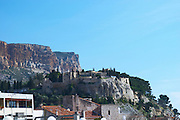 In the harbour in Cassis village. The Cassis fortress fort. Cassis Cote d'Azur Var France Bouches du Rhone