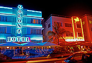 Colony and Boulevard Hotels at night, the deco district, South Beach, Miami, Florida