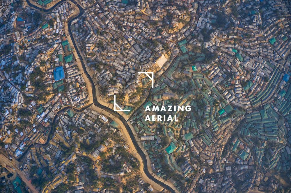 Aerial view of a huge refugee camp with makeshift houses near Myanmar border, Kutupalong Rohingya camp near Ukhia town, Bangladesh.
