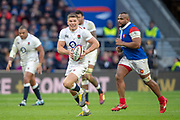 Twickenham, United Kingdom. 7th February, Owen FARRELL, running with the ball, during the England vs France, 2019 Guinness Six Nations Rugby Match   played at  the  RFU Stadium, Twickenham, England, <br /> © PeterSPURRIER: Intersport Images