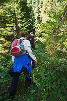 Judita Hrubesova, Krystof & Miroslav Bobek on a guided hike through the Bieszczady National Park interiors. Bukowiec, Poland.