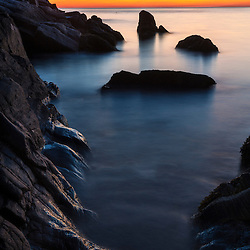 Dawn in Broad Cove on Appledore Island, Maine. Isles of Shoals.