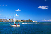 Waikiki from Kewalo Basin, Honolulu, Oahu, Hawaii