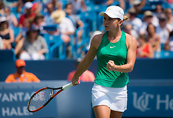 August 19, 2018 - Simona Halep of Romania in action during the final of the 2018 Western & Southern Open WTA Premier 5 tennis tournament. Cincinnati, Ohio, USA. August 19th 2018. (Credit Image: © AFP7 via ZUMA Wire)