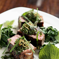 Joshua Higgs, sous chef, Bridge Tender -<br /> <br /> NY Strip over Turnip and Apple Puree with Seared Turnip Greens, Red<br /> Shiso, and Pickled Chili Gremolata