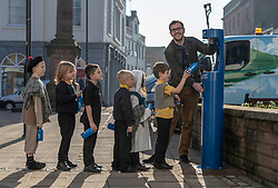 Youngsters paid tribute to one of Dumfries' most celebrated former residents when they unveiled a new water refill tap in the town.<br /> <br /> The high tech Top Up Tap has been installed by Scottish Water as part of its national initiative to encourage people to carry a reusable bottle and stay hydrated on the go. <br /> <br /> Pictured: Primary 2 pupils from Noblehill Primary School who donned 18th century outfits and recited some poems by Robert Burns with MSP Oliver Mundell.