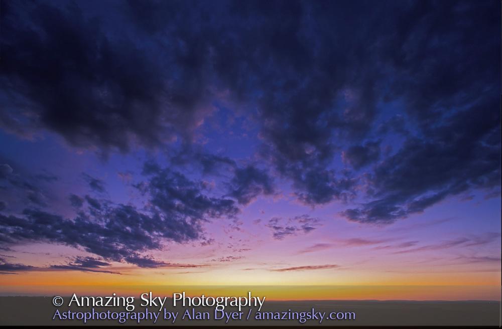Prairie Sunset, July 1997<br /> from home in Alberta<br /> <br /> Same sunset as #1B<br /> <br /> 15mm lens, Ektachrome 100 slide film
