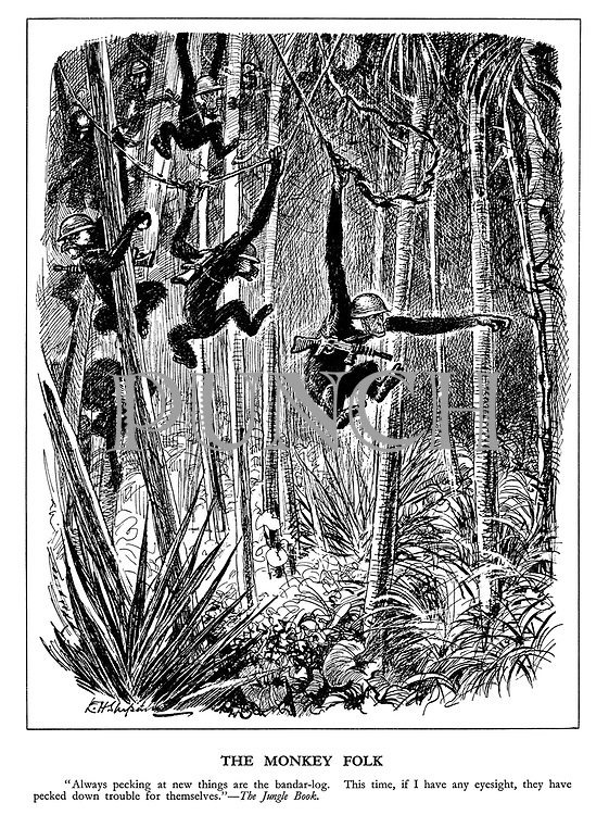 "The Monkey Folk. ""Always pecking at new things are the bandar-log. This time, if I have any eyesight, they have pecked down trouble for themselves."" The Jungle Book."