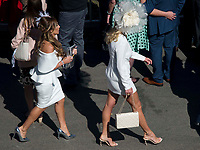 National Hunt Horse Racing - 2017 Randox Grand National Festival - Saturday, Day Three [Grand National Day]<br /> <br /> female racegoers before  the 2nd race the 2.25 the Betway Mersey Novices' Hurdle  at Aintree Racecourse.<br /> <br /> COLORSPORT/WINSTON BYNORTH