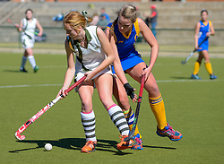 Faye Lane of Diocesan School for Girls(white) and Elana Marais of Waterkloof(blue) during day one of the FNB Private Wealth Super 12 Hockey Tournament held at Oranje Meisieskool in Bloemfontein, South Africa on the 6th August 2016<br /> <br /> Photo by:   Frikkie Kapp / Real Time Images