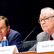 "Thomas Kean (left) and Lee Hamilton (right). Panel: FAA Response on 9/11. The 9/11 Commission's 12th public hearing on ""The 9/11 Plot"" and ""National Crisis Management"" was held June 16-17, 2004, in Washington, DC."