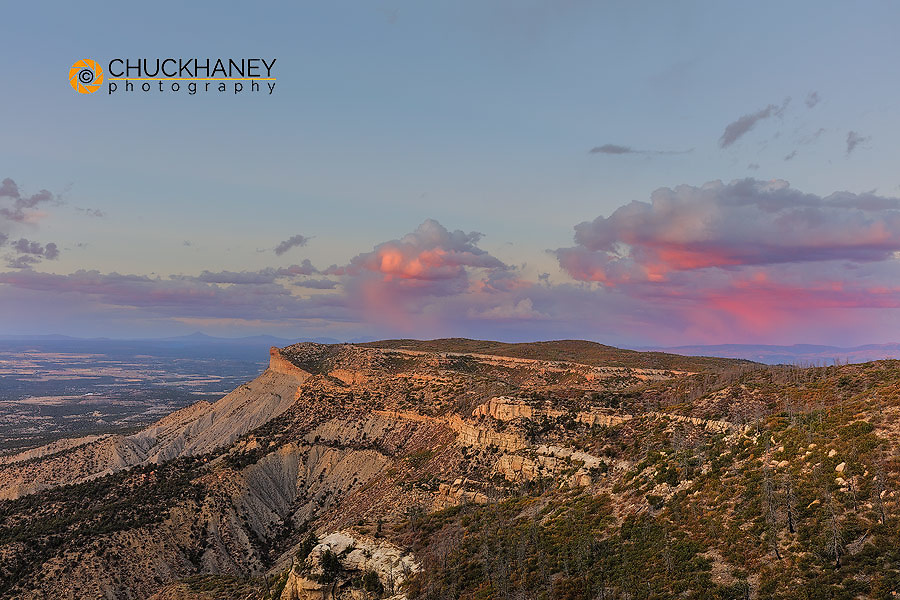Sunset clouds over cliffs in Mesa Verde National Park, Colorado, USA