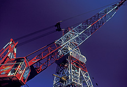 Stock photo of a large red and white crane