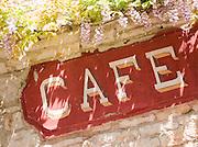 Rustic cafe sign in the Dordogne region of France