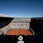 PARIS, FRANCE June 13.   A general view of Novak Djokovic of Serbia in action against Stefanos Tsitsipas of Greece on Court Philippe-Chatrier during the final of the singles competition at the 2021 French Open Tennis Tournament at Roland Garros on June 13th 2021 in Paris, France. (Photo by Tim Clayton/Corbis via Getty Images)