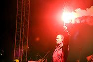 Zoran 'Prlja' Prodanović, frontman of Rijeka's most famous band, legendary Croatian rock group Let 3, during the performance of Opera Industriale, on the opening weekend of Rijeka2020. Rijeka, European Capital of Culture 2020, Croatia © Rudolf Abraham