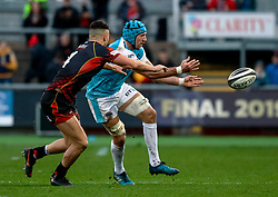 Justin Tipuric of Ospreys gets the ball away<br /> <br /> Photographer Simon King/Replay Images<br /> <br /> Guinness PRO14 Round 12 - Dragons v Ospreys - Sunday 30th December 2018 - Rodney Parade - Newport<br /> <br /> World Copyright © Replay Images . All rights reserved. info@replayimages.co.uk - http://replayimages.co.uk