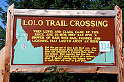 Interpretive sign at the Lolo Trail Crossing where Lewis & Clark crossed Highway 12 on June 29, 1806, Lewis & Clark National Historic Trail, Idaho