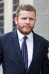 © Licensed to London News Pictures. 11/04/2017. London, UK. ADAM HUTCHESON, Gordon Ramsay's brother-in-law, arrives at the Old Bailey - where he and three of his family members are accused of hacking the celebrity chef's computer. Photo credit: Peter Macdiarmid/LNP
