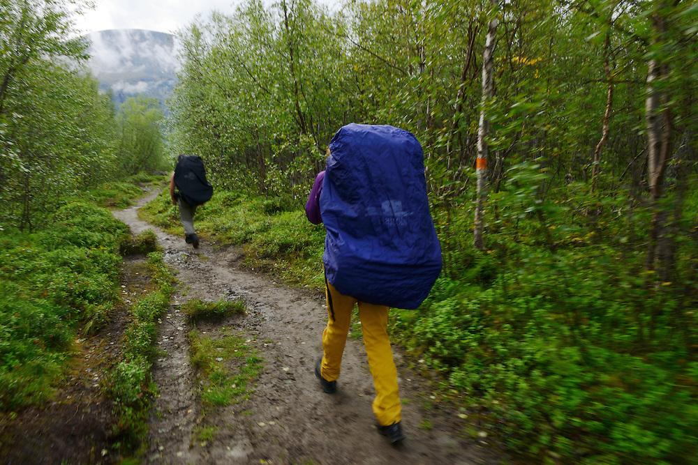 Mimmi Widstrand, Tuula Rahikka and Julia Mångsåker, Family hiking trip on the Laponia Circuit, along the Padjelantaleden trail, Padjelanta National Park and Sarek National Park, Norrbotten, Lapland, Sweden.