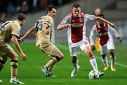 02.11.2011, Amsterdam ArenA, Amsterdam, NED, UEFA CL, Ajax vs Dinamo Zagreb, im Bild  (L-R) /Milan Badelj, Derk Boerrigter during UEFA Champions League match between AFC Ajax and Dinamo Zagreb at  statium Amsterdam ArenA in Amsterdam Netherlands on 02/11/2011..EXPA Pictures © 2011, PhotoCredit: EXPA/ nph/   Ronald Hoogendoorn .+++++ ATTENTION - OUT OF NETHERLANDS +++++       ****** out of GER / CRO  / BEL ******