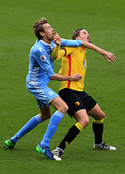 27 November 2016 - Premier League - Watford v Stoke City - Sebastian Prodl of Watford in action with Peter Crouch of Stoke City - Photo: Marc Atkins / Offside.