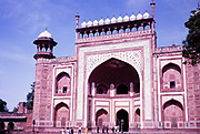 Red sandstone east gateway building at the Taj Mahal site, Agra, India in 1964