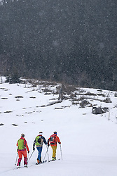 Skiers touring on mountain in snowfall, Zell Am See, Austria