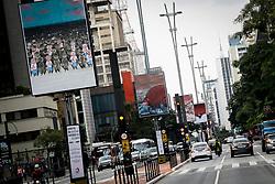 May 13, 2019 - SãO Paulo, Brazil - SÃO PAULO, SP - 13.05.2019: EXPOSIÇÃO AO AR LIVRE ANGELI LAERTE - The May Exhibition in Paulista - Right of Averse / Avesso do Direito, with cartoons of Laerte and Angeli, takes place from May 13 to 31 on the cycle path of Avenida Paulista. (Credit Image: © Aloisio Mauricio/Fotoarena via ZUMA Press)