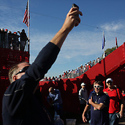 Ryder Cup 2016. Day Three. Spectators during the Sunday singles competition at  the Ryder Cup tournament at Hazeltine National Golf Club on October 02, 2016 in Chaska, Minnesota.  (Photo by Tim Clayton/Corbis via Getty Images)