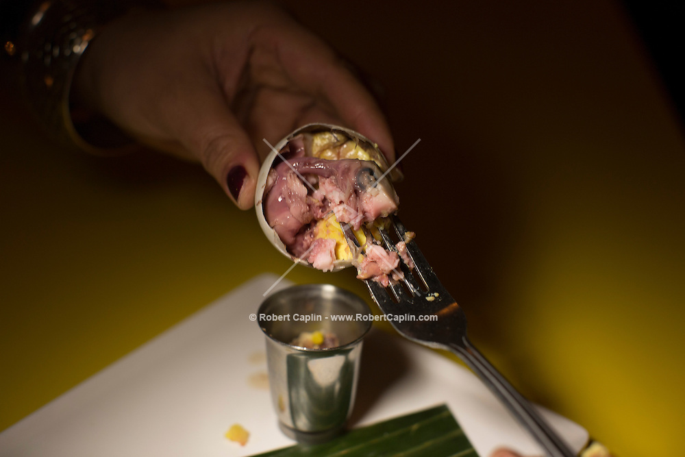 Balut, a hard boiled fertilized egg with an embryonic duck inside at Jeepney, a Filipino restaurant in New York...Photo by Robert Caplin..