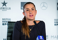 Belinda Bencic of Switzerland talks to the media after winning the third round of the Mutua Madrid Open 2021, Masters 1000 tennis tournament on May 3, 2021 at La Caja Magica in Madrid, Spain - Photo Rob Prange / Spain ProSportsImages / DPPI / ProSportsImages / DPPI