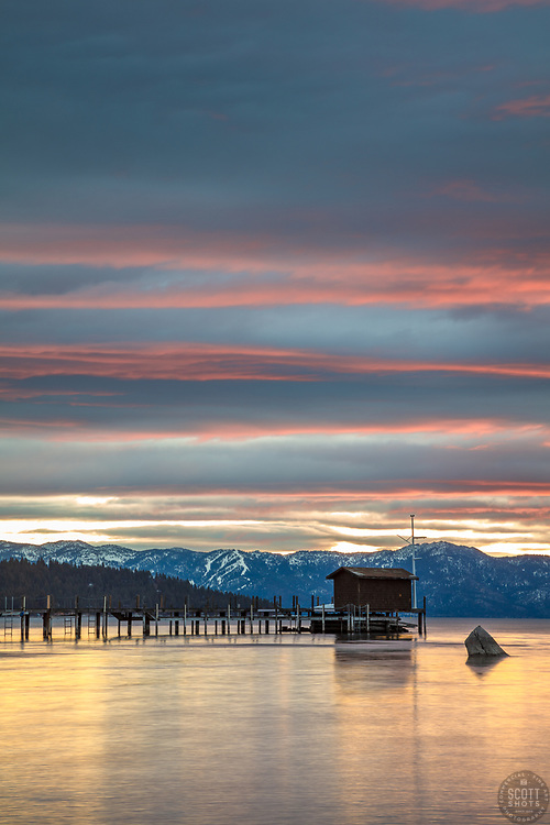 """""""Tahoe City Pier at Sunrise 5"""" - Photograph of a colorful sunrise at the pier in Tahoe City, shot from the William B Layton Park."""