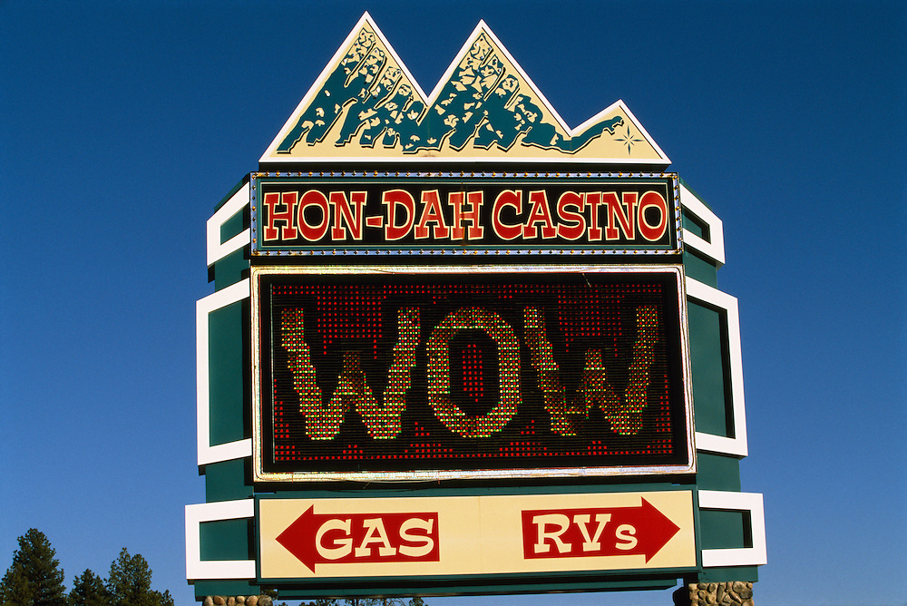 Hon-Dah Casino sign on the Fort Apache Reservation in Arizona, USA. June 2004. The Hon-Dah Casino is owned by the local Apache tribe.