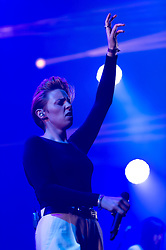 © Licensed to London News Pictures. 06/09/2014. Isle of Wight, UK. La Roux performing live at Bestival 2014 Day 2 Friday.  La Roux is Elly Jackson.  This weekend's headliners include Chic featuring Nile Rodgers, Foals and Outcast.   Bestival is a four-day music festival held at the Robin Hill country park on the Isle of Wight, England. It has been held annually in late summer since 2004.    Photo credit : Richard Isaac/LNP