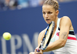 NEW YORK, Sept. 7, 2017  Karolina Pliskova of Czech Republic returns a ball to CoCo Vandeweghe of the United States during the women's singles quarterfinal match at the 2017 U.S. Open in New York, the United States, Sept. 6, 2017. Karolina Pliskova lost 0-2. (Credit Image: © Qin Lang/Xinhua via ZUMA Wire)