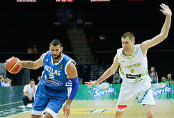 Ioannis Bourousis of Greece vs Uros Slokar of Slovenia during friendly match between National Teams of Slovenia and Greece before World Championship Spain 2014 on August 17, 2014 in Kaunas, Lithuania. Photo by Robertas Dackus / Sportida.com