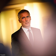 Brussel - Bruxelles , 14/04/2018<br /> The North Atlantic Council meet at Ambassadorial level at NATO Headquarters in Brussels to update the Council on the latest developments in Syria by France, United Kingdom and the United States. Press point by the NATO Secretary General, Jens Stoltenberg. Pix : Jens Stoltenberg<br /> Credit : Pablo Garrigos / Isopix