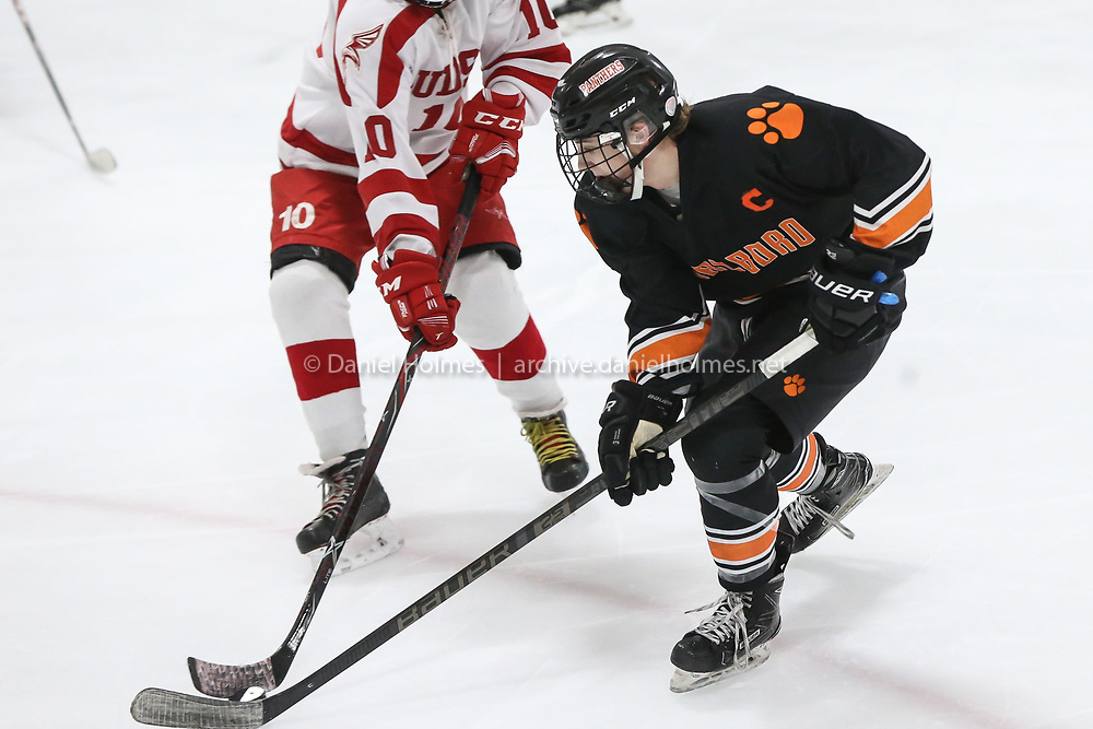 (1/1/20, MARLBOROUGH, MA) Marlborough's Kyle Carroll skates passed the Hudson defense during the consolation game of the Daily News Cup at New England Sports Center in Marlborough on Wednesday. [Daily News and Wicked Local Photo/Dan Holmes]